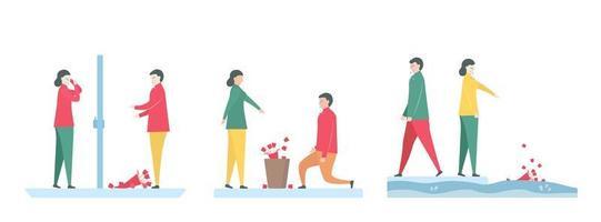 3 Sätze Paare, die Rosen zerbrechen und wegwerfen
