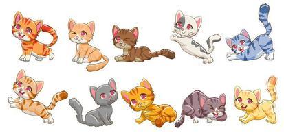 tecknad färgglad kattuppsättning vektor