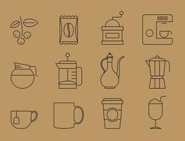 Dünne Linie Kaffee Icons