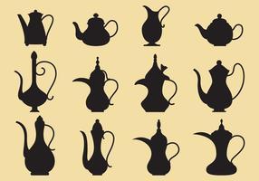 Kaffe och Tepottar Silhuetter vektor