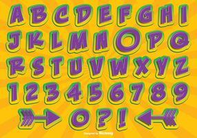 Komisk stil alfabetet set vektor