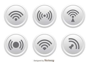 Weißer Knopf Wifi Logo-Vektoren vektor