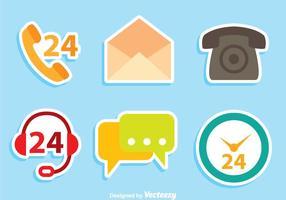 Kontakta oss platta ikoner vektor