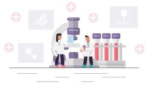 medicinsk forskare som arbetar med stort mikroskop