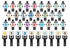Vektor pinnen figurerar med alfabetet
