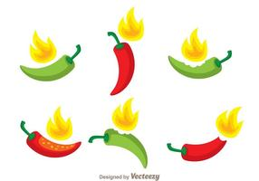 Hot Chili Pfeffer Vektor Set