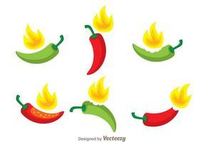 Varm chili peppar vektor uppsättning