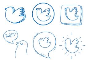 Twitter Vogel Vektor Set
