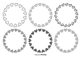 Handgezeichneten Stil Herz Rahmen Set vektor