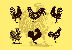 Rooster Illustrationer Vector Silhouettes Free