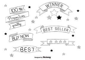 Handdragen bästsäljare etiketter vektor