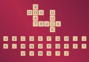 Hölzerne Scrabble Fliesen Vektoren