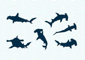 Hammerhead hajar vektor silhuetter