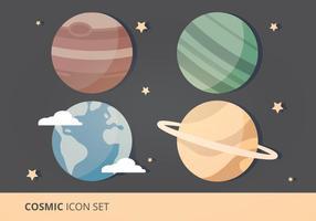 Kosmisk ikonuppsättning Vector