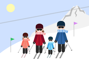 Gratis Family Skiing Vector