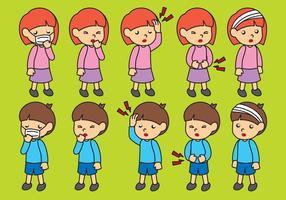 Cartoon Sick Kinder Vektoren