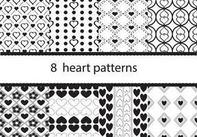 Acht Herzmuster Vektoren