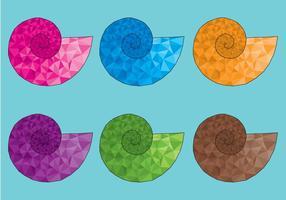 Färgglada polygonala Golden Ratio Shell Vectors