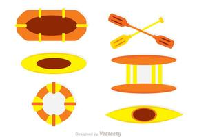 Vatten Rafting Vector Ikoner