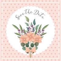 blommabukett spara datumkortet vektor