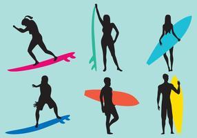 Kvinna och Man Surfing Silhouette Vektorer