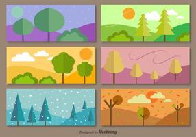 6 säsongsbundna banderoller vektor