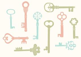 Handgezeichnete Vintage Key Vectors
