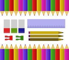 Satz Schulutensilien und Banner vektor
