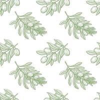 nahtloses Muster des Olivenbaumzweigs vektor
