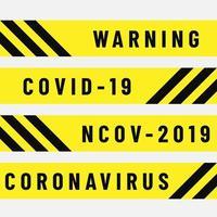 polisband med covid-19 varning vektor