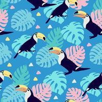 tropiska sömlösa mönster med tukaner på blått