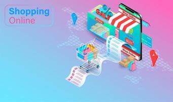 shoppa online-koncept med vagn vid mottagande