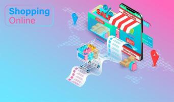 shoppa online-koncept med vagn vid mottagande vektor