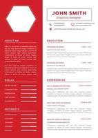 rote Lebenslaufvorlage mit Sechseckraum für Bild