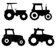 Silhouette Traktor Icon Set vektor