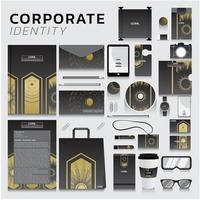 företagsidentitet med gulddesign på grått