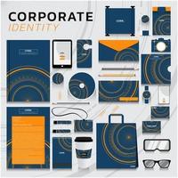 företagsidentitet i blått och orange med cirklar