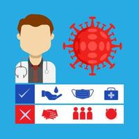 läkare med ikoner för virusförebyggande