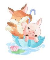 tecknad djur vän i paraply