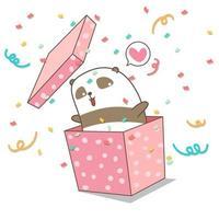 handritad panda i rosa låda vektor