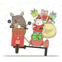 Rentier und Santa Klausel Katze fahren Motorrad mit Beiwagen