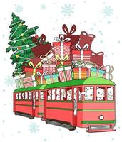 katter som rider i tåg med gåvor och julgran på toppen