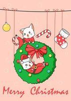 bakgrund med god julkatt vektor