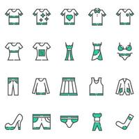 kläder och kläder ikoner vektor