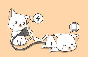 kattvän som hjälper stressad katt vektor
