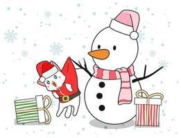 snögubbe och santa katt med gåvor vektor