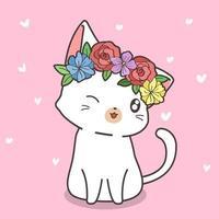 handritad vit katt med blomma krona vektor