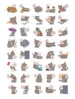 Satz Katzen, die verschiedene Aufgabensammlungen ausführen vektor
