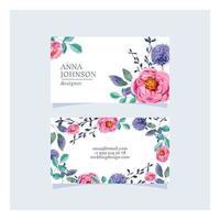 süße Blumen-Visitenkartenschablone vektor