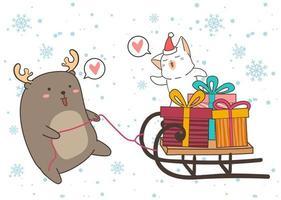 Rentier ziehen Katze und Geschenke auf Schlitten